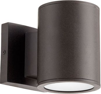 Quorum 920-2-86 Cylinder Modern Oiled Bronze LED Exterior Wall Sconce