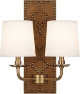 Robert Abbey 1030 Williamsburg Lightfoot English Ochre Leather and Aged Brass Wall Light Sconce