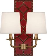 Robert Abbey 1031 Williamsburg Lightfoot Dragons Blood Leather and Aged Brass Wall Lighting Fixture