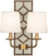 Robert Abbey 1032 Williamsburg Lightfoot Bruton White Leather and Aged Brass Wall Light Sconce