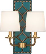 Robert Abbey 1033 Williamsburg Lightfoot Mayo Teal Leather and Aged Brass Wall Sconce Light
