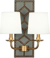 Robert Abbey 1034 Williamsburg Lightfoot Carter Gray Leather and Aged Brass Wall Sconce