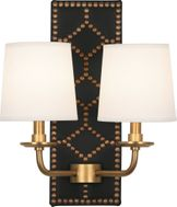 Robert Abbey 1035 Williamsburg Lightfoot Blacksmith Black Leather and Aged Brass Wall Lamp