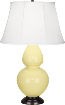 Robert Abbey 1605 Double Gourd Butter Glazed Ceramic with Deep Patina Bronze 31 Table Lamp