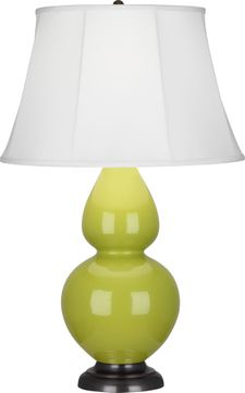 Robert Abbey 1643 Double Gourd Apple Glazed Ceramic with Deep Patina Bronze 31 Table Top Lamp