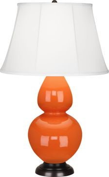 Robert Abbey 1645 Double Gourd Pumpkin Glazed Ceramic with Deep Patina Bronze 31 Side Table Lamp