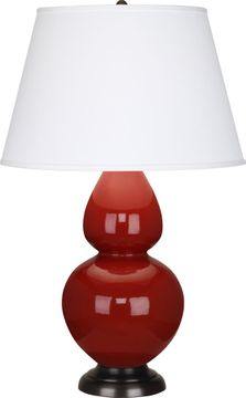 Robert Abbey 1647X Double Gourd Oxblood Glazed Ceramic with Deep Patina Bronze 31 Lighting Table Lamp