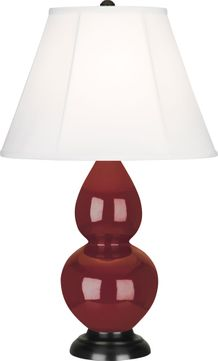 Robert Abbey 1657 Double Gourd Oxblood Glazed Ceramic with Deep Patina Bronze 23 Side Table Lamp