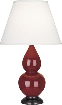Robert Abbey 1657X Double Gourd Oxblood Glazed Ceramic with Deep Patina Bronze 23 Table Light