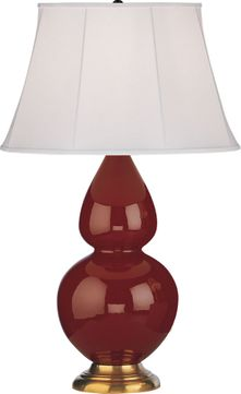 Robert Abbey 1667 Double Gourd Oxblood Glazed Ceramic with Antique Natural Brass 31 Table Light
