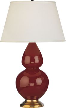 Robert Abbey 1667X Double Gourd Oxblood Glazed Ceramic with Antique Natural Brass 31 Lighting Table Lamp