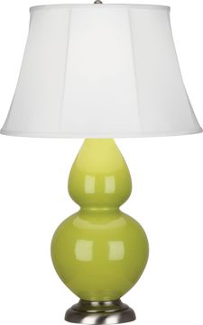 Robert Abbey 1673 Double Gourd Apple Glazed Ceramic with Antique Silver 31 Lighting Table Lamp
