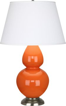 Robert Abbey 1675X Double Gourd Pumpkin Glazed Ceramic with Antique Silver 31 Side Table Lamp