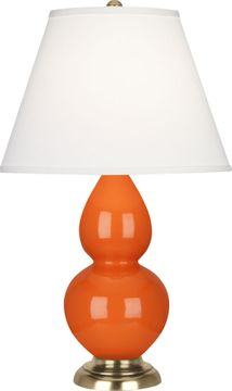 Robert Abbey 1685X Double Gourd Pumpkin Glazed Ceramic with Antique Natural Brass 23 Lighting Table Lamp