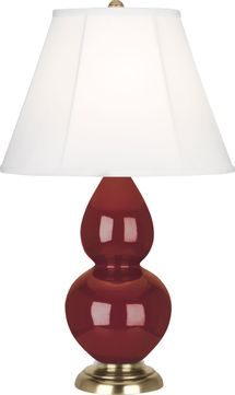Robert Abbey 1687 Double Gourd Oxblood Glazed Ceramic with Antique Natural Brass 23 Lighting Table Lamp