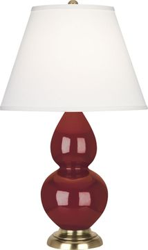 Robert Abbey 1687X Double Gourd Oxblood Glazed Ceramic with Antique Natural Brass 23 Table Lamp