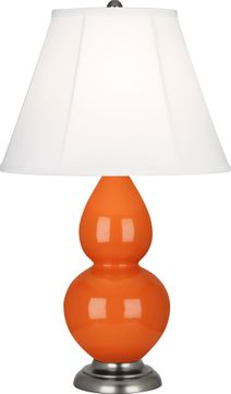 Robert Abbey 1695 Double Gourd Pumpkin Glazed Ceramic with Antique Silver 23 Table Lamp