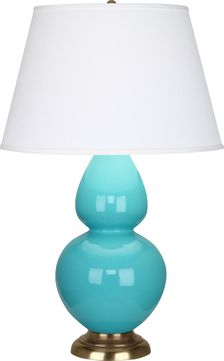 Robert Abbey 1740X Double Gourd Egg Blue Glazed Ceramic with Antique Natural Brass 31 Side Table Lamp