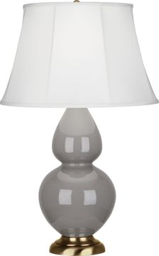 Robert Abbey 1748 Double Gourd Smoky Taupe Glazed Ceramic 31 Table Lamp