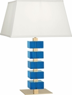 Robert Abbey 176 Jonathan Adler Monaco Lacquered Natural Brass and Turquoise Crystal Lighting Table Lamp