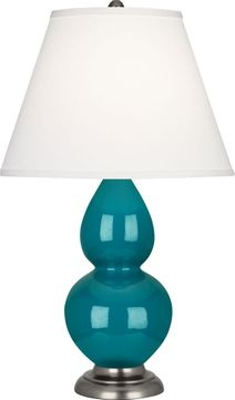 Robert Abbey 1773X Double Gourd Peacock Glazed Ceramic with Antique Silver 23 Table Lamp Lighting