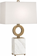 Robert Abbey 405 Oculus Contemporary Warm Brass with White Marble Table Light