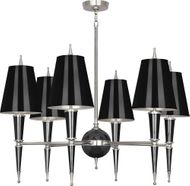 Robert Abbey B604 Jonathan Adler Versailles Modern Black Lacquered Paint with Polished Nickel Chandelier Light