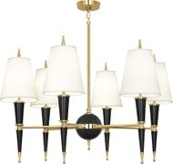 Robert Abbey B904X Jonathan Adler Versailles Contemporary Black Lacquered Paint with Brass Chandelier Lamp