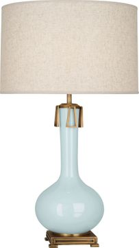 Robert Abbey BB992 Athena Baby Blue Glazed Ceramic with Aged Brass Table Lamp Lighting
