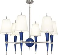 Robert Abbey C604X Jonathan Adler Versailles Modern Navy Lacquered Paint with Polished Nickel Ceiling Chandelier