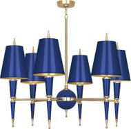 Robert Abbey C904 Jonathan Adler Versailles Modern Navy Lacquered Paint with Brass Hanging Chandelier