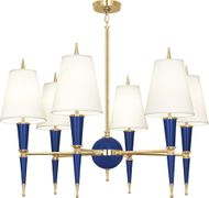 Robert Abbey C904X Jonathan Adler Versailles Contemporary Navy Lacquered Paint with Brass Chandelier Light