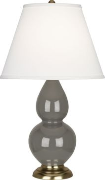 Robert Abbey CR10X Double Gourd Ash Glazed Ceramic with Antique Brass 23 Table Top Lamp