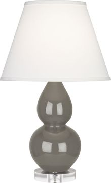 Robert Abbey CR13X Double Gourd Ash Glazed Ceramic with Lucite 22 Table Lamp Lighting