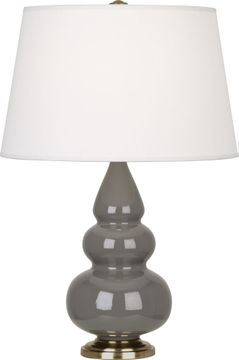 Robert Abbey CR30X Triple Gourd Ash Glazed Ceramic with Antique Brass 24 Table Lamp