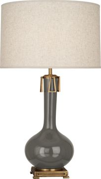 Robert Abbey CR992 Athena Ash Glazed Ceramic with Aged Brass Table Top Lamp