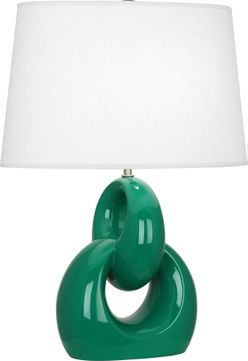 Robert Abbey EG981 Fusion Contemporary Emerald Green Glazed Ceramic with Polished Nickel 27 Table Lighting