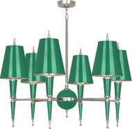 Robert Abbey G604 Jonathan Adler Versailles Contemporary Emerald Lacquered Paint with Polished Nickel Chandelier Lighting