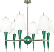 Robert Abbey G604X Jonathan Adler Versailles Modern Emerald Lacquered Paint with Polished Nickel Lighting Chandelier