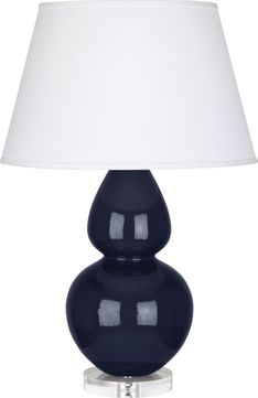 Robert Abbey MB23X Double Gourd Midnight Blue Glazed Ceramic with Lucite 30 Lighting Table Lamp