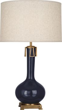 Robert Abbey MB992 Athena Midnight Blue Glazed Ceramic with Aged Brass Lighting Table Lamp
