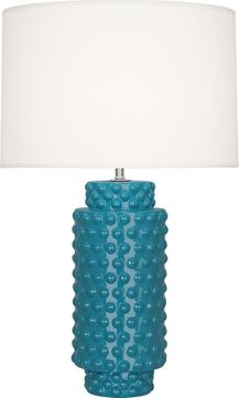 Robert Abbey PC800 Dolly Peacock Glazed Textured Ceramic 28 Table Top Lamp