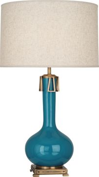 Robert Abbey PC992 Athena Peacock Glazed Ceramic with Aged Brass Table Lamp