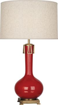 Robert Abbey RR992 Athena Ruby Red Glazed Ceramic with Aged Brass Table Lamp Lighting
