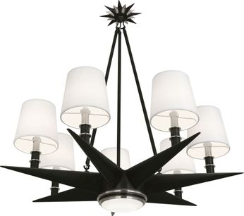 Robert Abbey S1018 Cosmos Contemporary Deep Patina Bronze with Antique Silver Chandelier Lamp