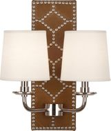 Robert Abbey S1030 Williamsburg Lightfoot English Ochre Leather and Polished Nickel Lighting Sconce