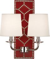 Robert Abbey S1031 Williamsburg Lightfoot Dragons Blood Leather and Polished Nickel Lamp Sconce