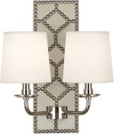 Robert Abbey S1032 Williamsburg Lightfoot Bruton White Leather and Polished Nickel Wall Sconce Lighting