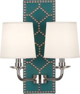 Robert Abbey S1033 Williamsburg Lightfoot Mayo Teal Leather and Polished Nickel Wall Light Fixture