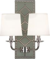 Robert Abbey S1034 Williamsburg Lightfoot Carter Gray Leather and Polished Nickel Lighting Wall Sconce